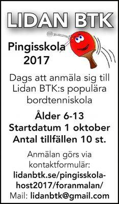 Lidan BTK Pingisskolan HT17