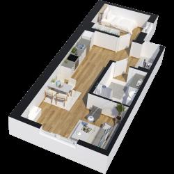 2 rum och kök - 53 kvm - 8200kr/mån