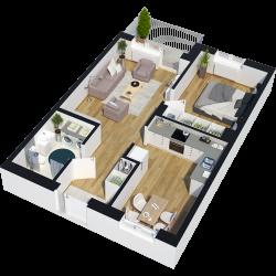 2 rum och kök - 56 kvm - 8400kr/mån